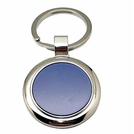 Porte clés rond bleu D10